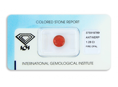 ohnivý opál 1.28ct reddish orange s IGI certifikátem