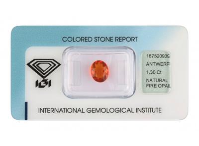ohnivý opál 1.30ct orange s IGI certifikátem