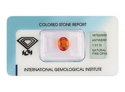 ohnivý opál 1.31ct orange s IGI certifikátem