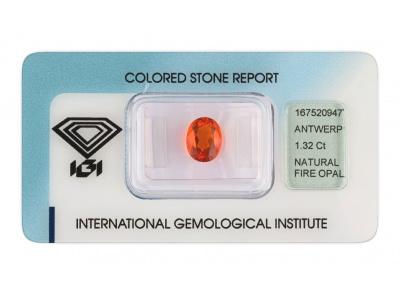 ohnivý opál 1.32ct orange s IGI certifikátem