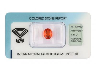ohnivý opál 1.37ct orange s IGI certifikátem