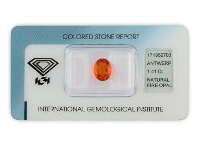 ohnivý opál 1.41ct orange s IGI certifikátem