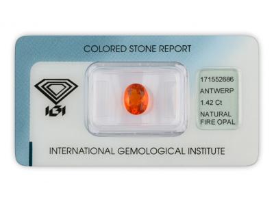 ohnivý opál 1.42ct orange s IGI certifikátem