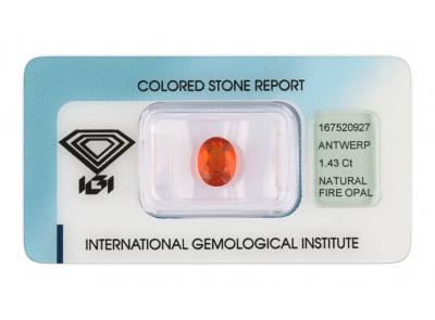ohnivý opál 1.43ct orange s IGI certifikátem