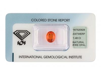 ohnivý opál 1.48ct orange s IGI certifikátem