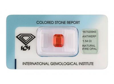 ohnivý opál 1.54ct orange s IGI certifikátem