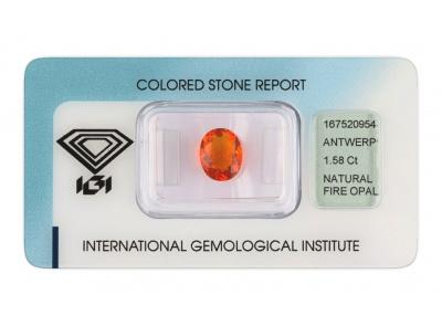 ohnivý opál 1.58ct orange s IGI certifikátem