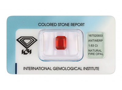 ohnivý opál 1.63ct reddish orange s IGI certifikátem