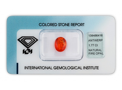 ohnivý opál 1.77ct orange s IGI certifikátem