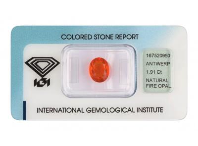 ohnivý opál 1.91ct orange s IGI certifikátem