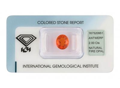 ohnivý opál 2.00ct orange s IGI certifikátem