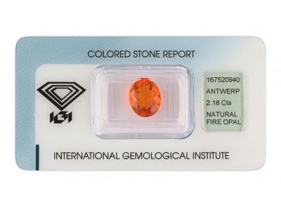ohnivý opál 2.18ct orange s IGI certifikátem