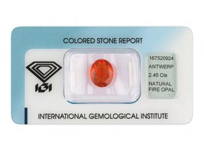 ohnivý opál 2.45ct orange s IGI certifikátem