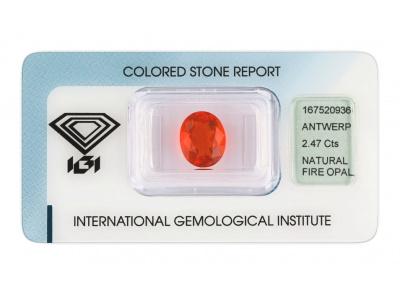 ohnivý opál 2.47ct orange s IGI certifikátem