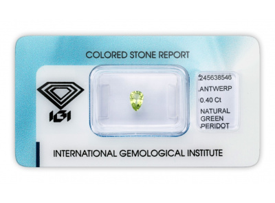 peridot 0.40ct yellowish green s IGI certifikátem