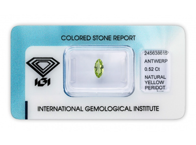 peridot 0.52ct greenish yellow s IGI certifikátem