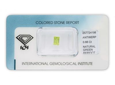 peridot 0.66ct yellowish green s IGI certifikátem