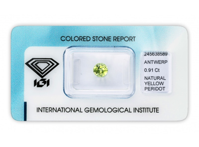 peridot 0.91ct greenish yellow s IGI certifikátem
