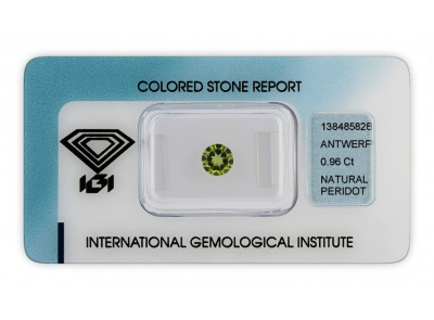 peridot 0.96ct yellowish green s IGI certifikátem