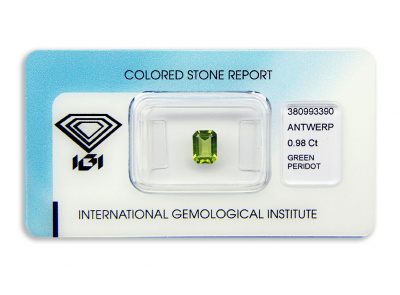peridot 0.98ct yellow-green s IGI certifikátem