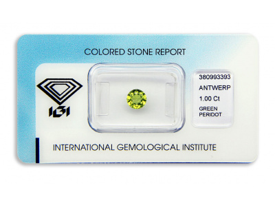 peridot 1.00ct yellowish green s IGI certifikátem