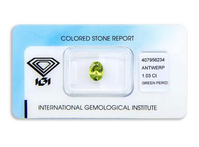 peridot 1.03ct yellow-green s IGI certifikátem