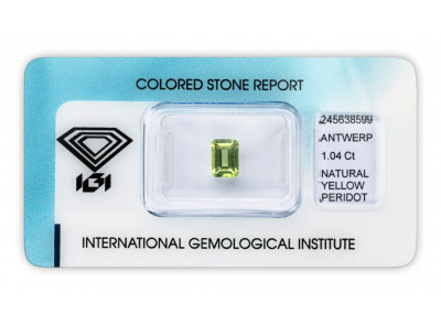 peridot 1.04ct green-yellow s IGI certifikátem