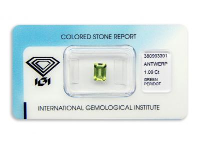 peridot 1.09ct yellow-green s IGI certifikátem