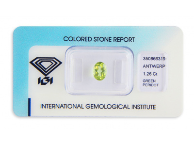 peridot 1.26ct yellowish green s IGI certifikátem