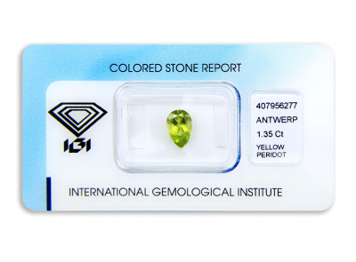 peridot 1.35ct green-yellow s IGI certifikátem