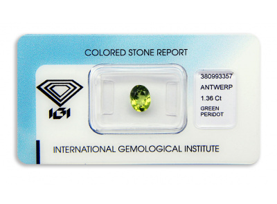 peridot 1.36ct yellow-green s IGI certifikátem