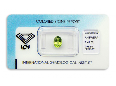 peridot 1.44ct yellowish green s IGI certifikátem