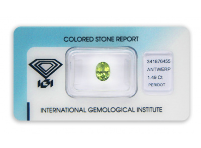 peridot 1.49ct yellowish green s IGI certifikátem