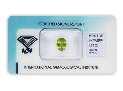 peridot 1.75ct yellowish green s IGI certifikátem