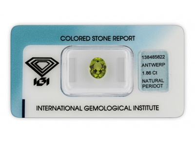 peridot 1.86ct yellowish green s IGI certifikátem
