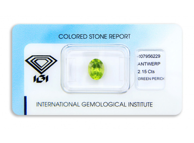 peridot 2.15ct yellow-green s IGI certifikátem
