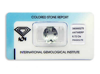 prasiolit 6.72ct light yellowish green s IGI certifikátem