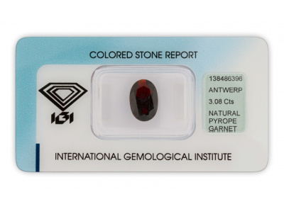 pyrop 3.08ct dark brownish red s IGI certifikátem