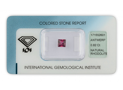rhodolit 0.82ct purple s IGI certifikátem