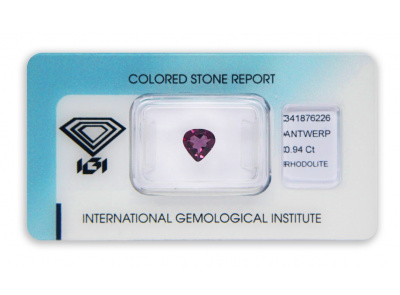 rhodolit 0.94ct purple-pink s IGI certifikátem