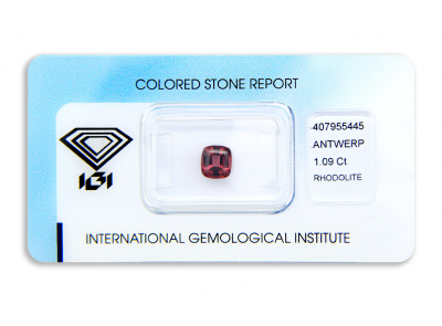 rhodolit 1.09ct purplish pink s IGI certifikátem