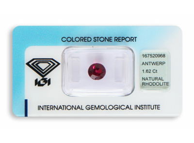rhodolit 1.62ct deep purplish red s IGI certifikátem