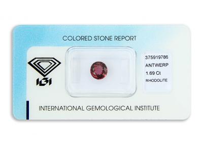 rhodolit 1.69ct purplish pink s IGI certifikátem