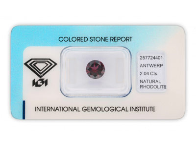 rhodolit 2.04ct purplish pink-red s IGI certifikátem