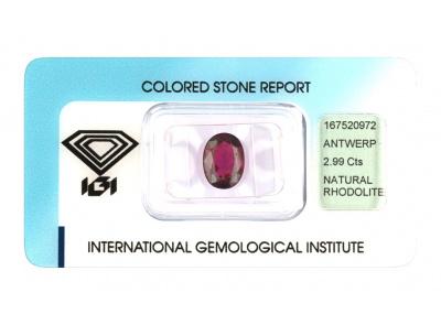 rhodolit 2.99ct purple s IGI certifikátem
