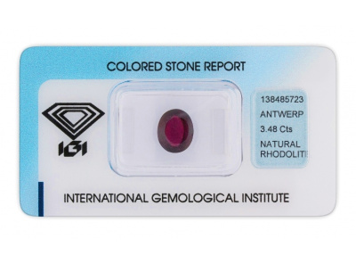 rhodolit 3.48ct dark purplish red s IGI certifikátem