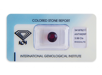 rhodolit 3.99ct reddish purple s IGI certifikátem