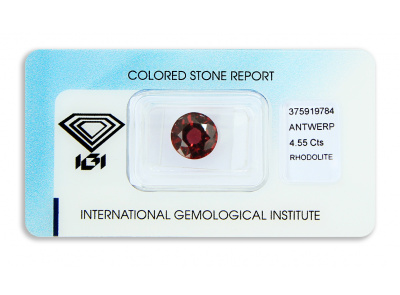 rhodolit 4.55ct purplish pink-red s IGI certifikátem