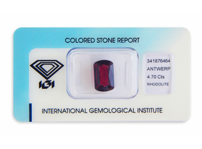 rhodolit 4.70ct purple-red s IGI certifikátem