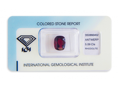rhodolit 5.09ct deep purplish red s IGI certifikátem